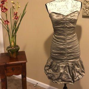 BCBGMAXAZRIA Metallic Ruched Cocktail Dress. SZ S
